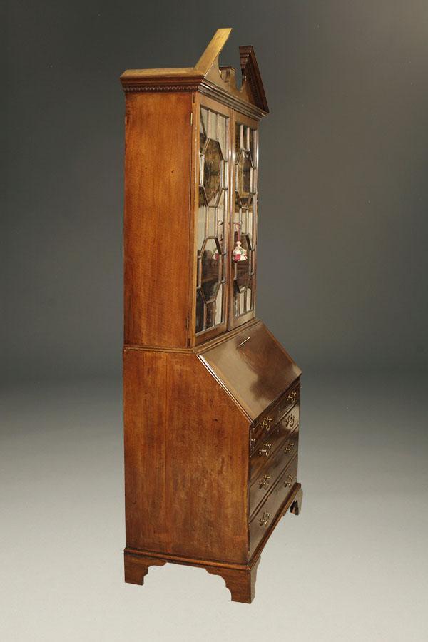Antique Drop Front Secretary Desk >> Antique English Drop Front Secretary With Bookcase