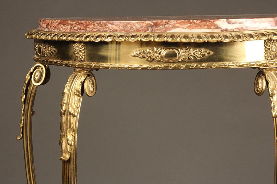A5368D-antique-german-empire-deilune-bronze-table - Antique German Empire Style Demilune Table.
