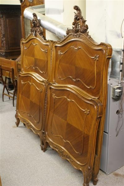 Pair of French Louis XV beds, walnut with hand carvings