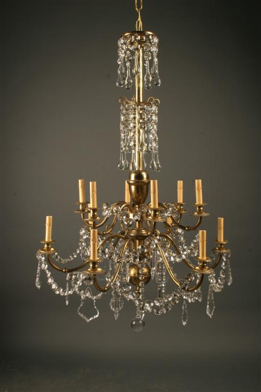 a5053a1 - Antique French 12 Arm Brass And Crystal Chandelier