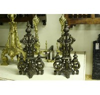 Pair of 19th century brass andirons in architectural style, circa 1870