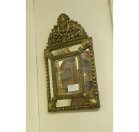19th century French Louis XVI mirror glass repoussed, circa 1870