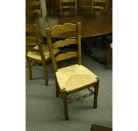 Custom ladder back side chairs with rush seats