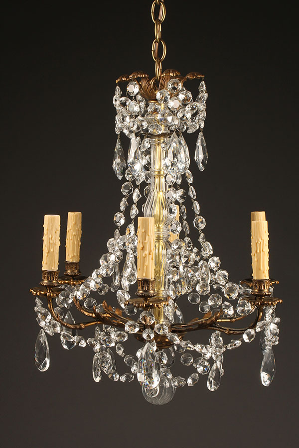 Antique bronze and crystal 6 arm chandelier