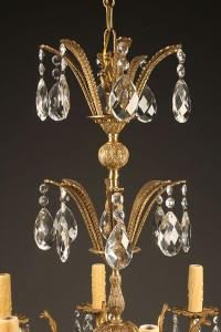 8 arm bronze and crystal chandelier