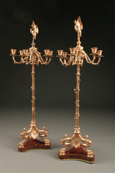 Pair of 19th Century French Empire candelabra A3599A