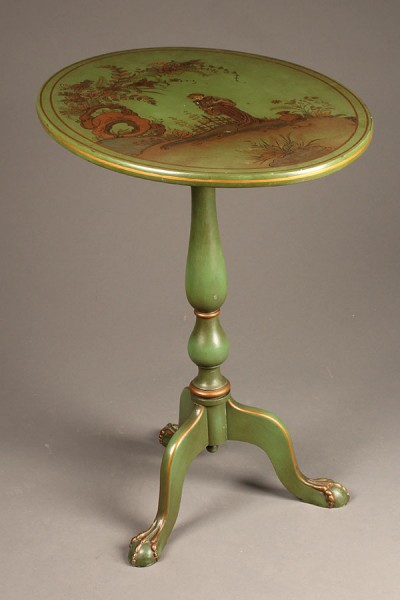 English flip top table in Chinoiserie style.