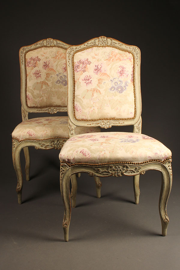 A5415A Antique Pair Louis XV Chairs Side