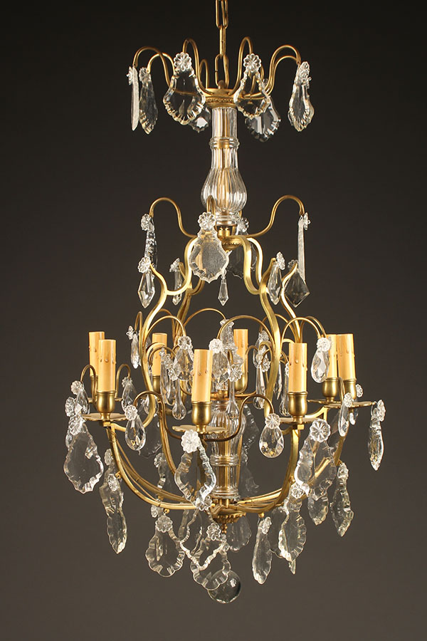 A5426A-antique-chandelier-crystal-8 arm - Antique Bronze And Crystal Chandelier.