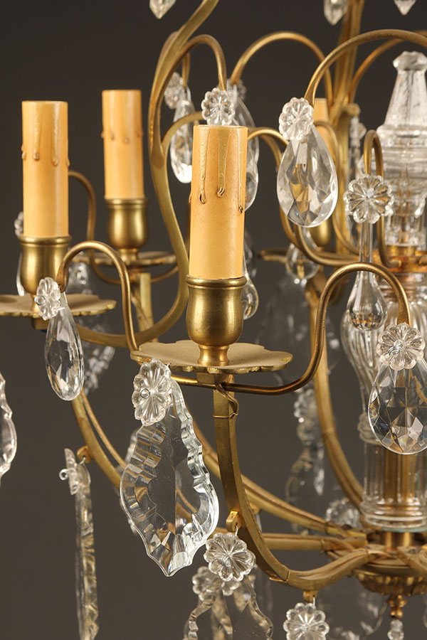 A5426C-antique-chandelier-crystal-8 arm - Antique Bronze And Crystal Chandelier.