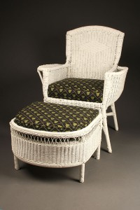 Wicker armchair with stool A5442A