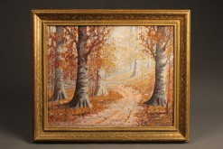 Oil on canvas of beech trees A5485A