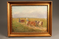 Oil on canvas featuring cows A5490A