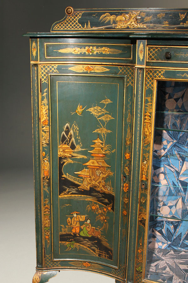 Antique Cabinet With Green Chinoiserie Finish