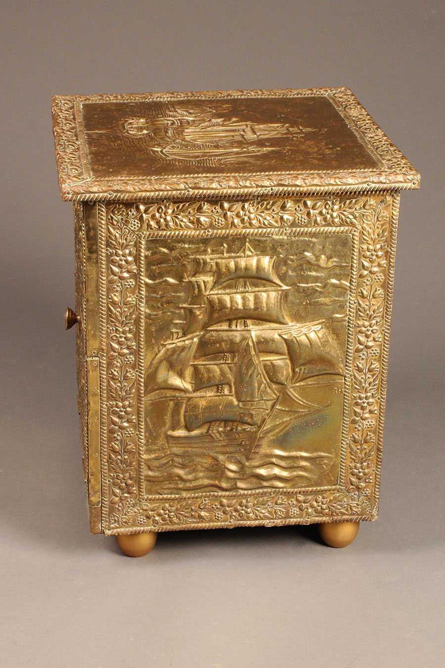 Antique English Repoussed Brass Fireside Box