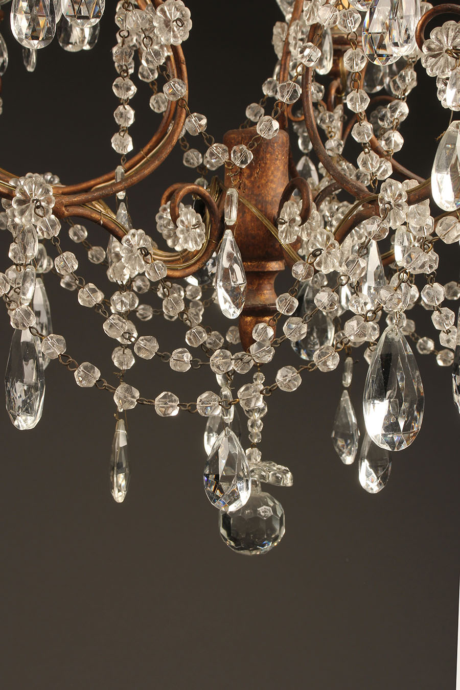 5 arm wood iron and crystal chandelier
