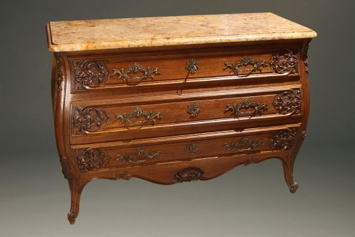 19th century French Louis XV style oak commode with marble top and bronze hardware, circa 1880. A5596A