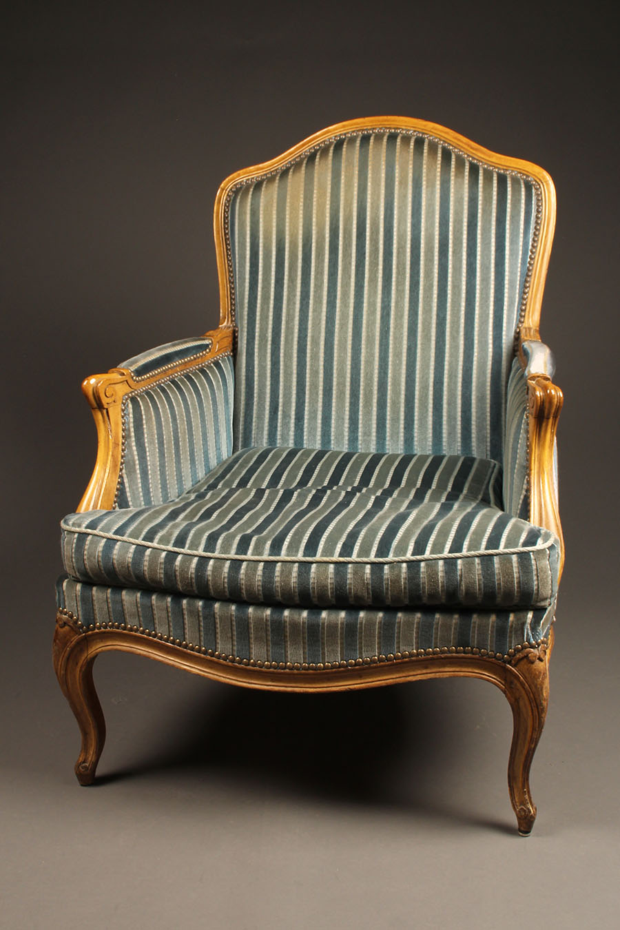 A5604B Pair French Armchair Chair Louis Xv Upholstered