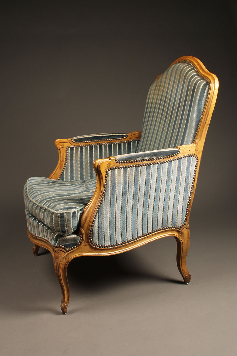 A5604C Pair French Armchair Chair Louis Xv Upholstered