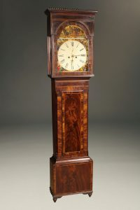 Early 19th century English tall case clock with Mary,Queen of Scots themed dial