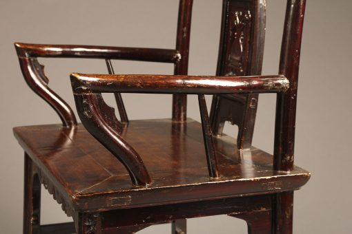 A5615F-antique-chinese-chairs-arm-teak - Antique Pair Of Chinese Court Chairs Made In Teak Wood.