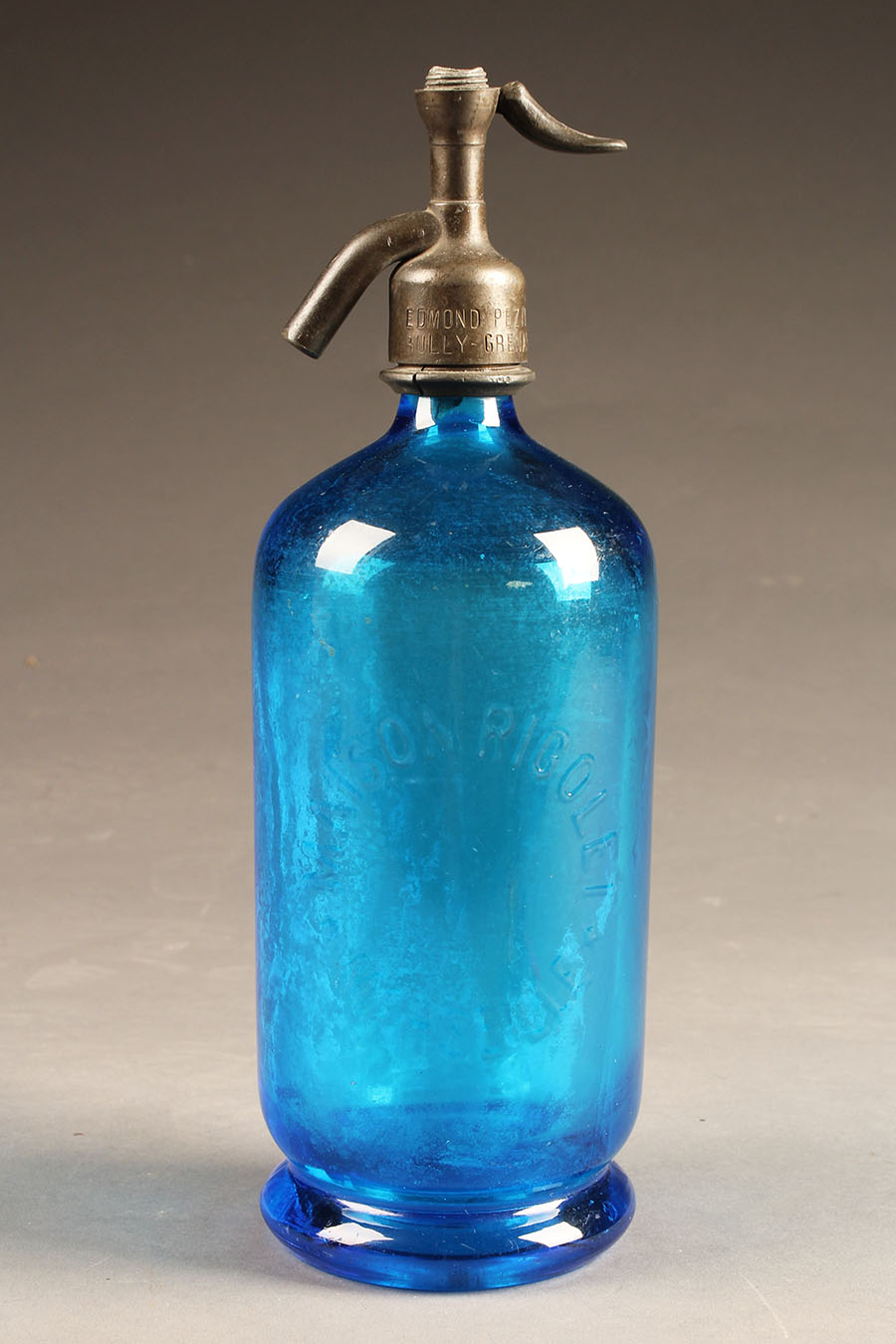 Antique French Blue Seltzer Water Bottle