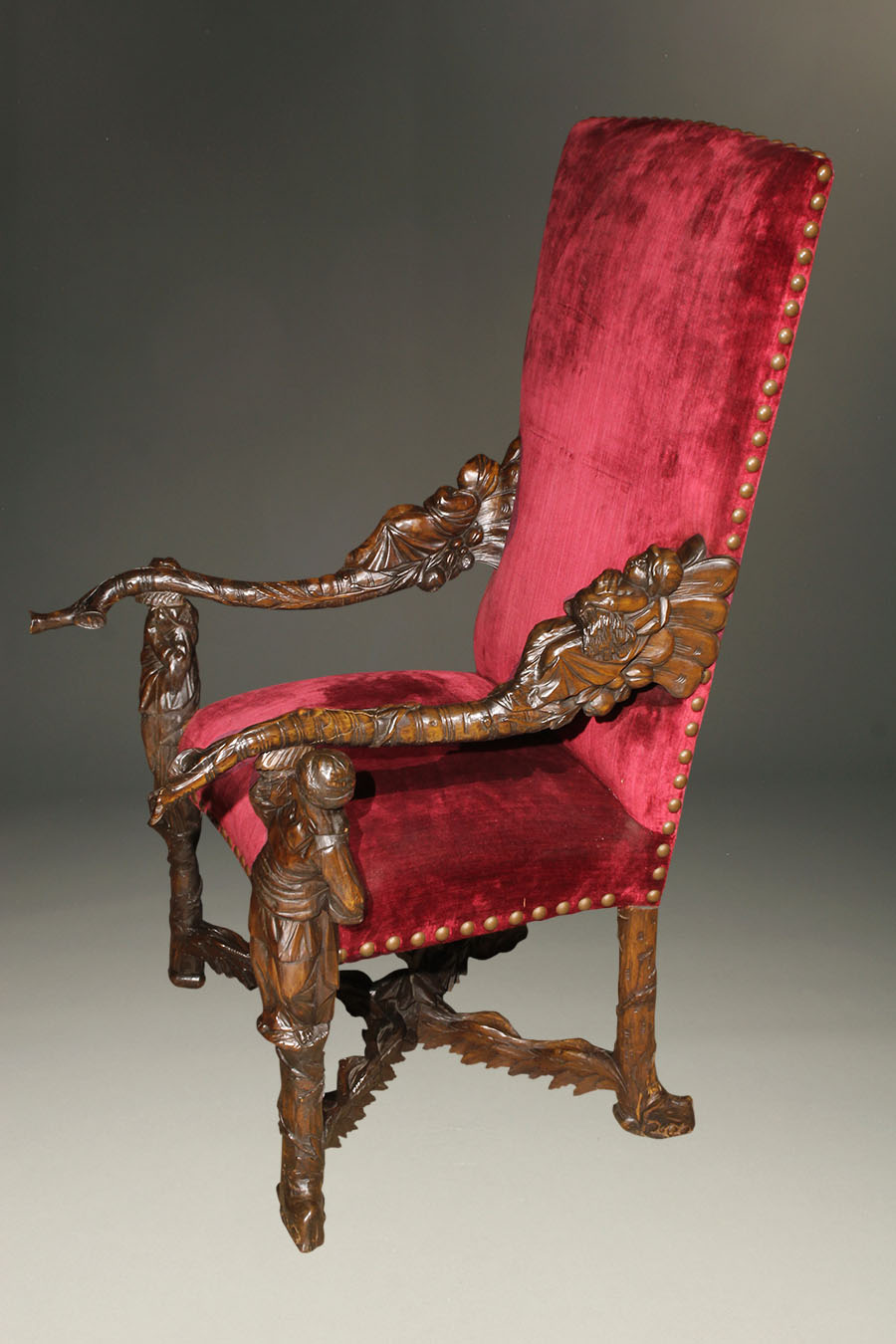 A5640B-antique-carved-chair-arm-venetian - Antique Hand Carved Venetian Armchair.