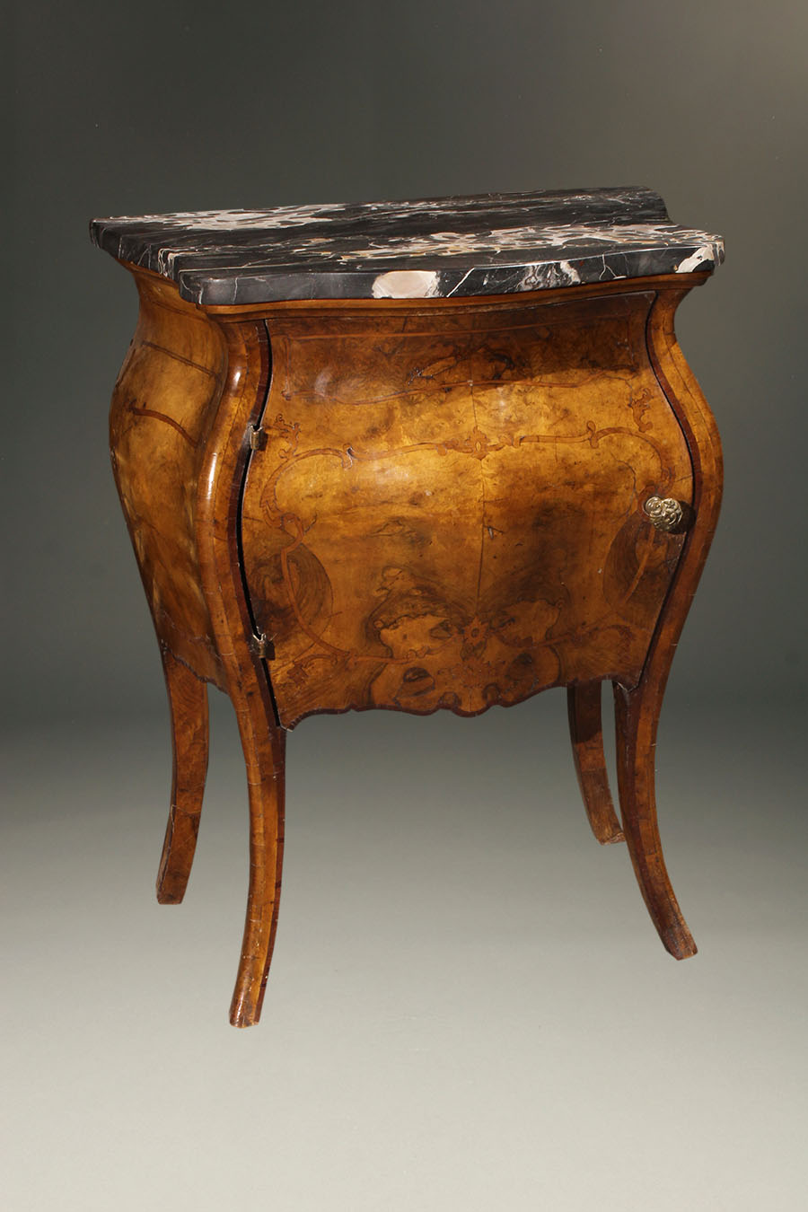 Commode furniture - A5649b Antique Commode Stand Bombe Italian Burl Marble