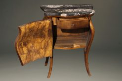 Late 19th century pair of Italian bombe commodes in burl walnut with marble tops