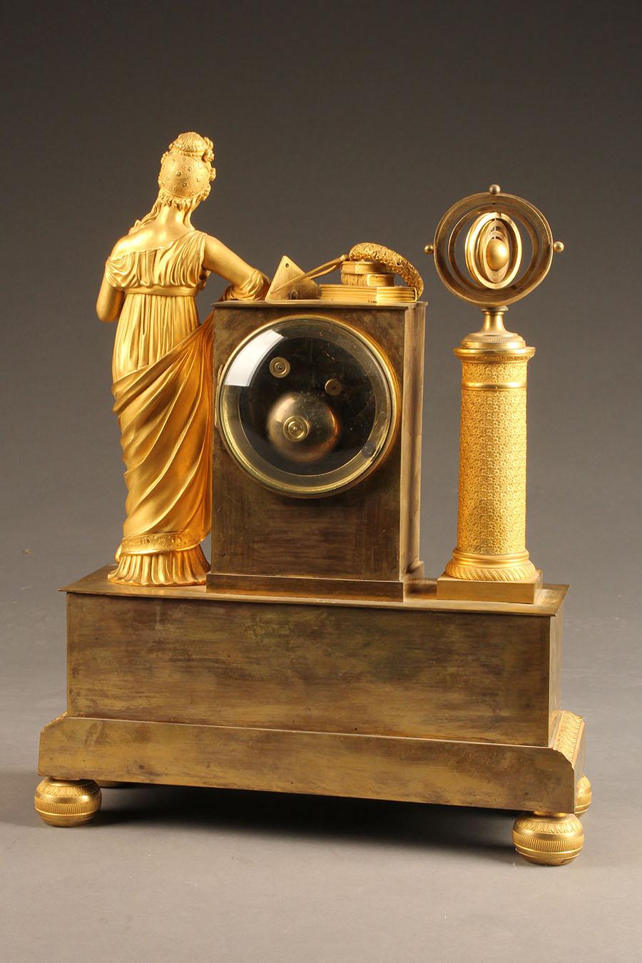 Antique French Bronze Statue Clock With Scientific Theme