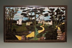 Late 19th century stained leaded glass panel depicting a castle, sailboat and path through trees, circa 1890