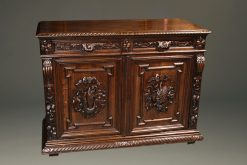 Mid 19th century French Louis XIII style buffet with fish and game carvings in oak, circa 1870.