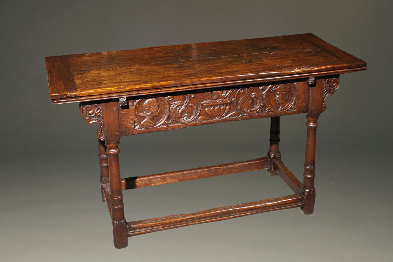Home/Furniture/Other Tables. Custom English Jacobean Style Side Draw Leaf  ...