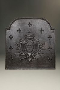 Early 18th century Flemish fireback with royal crown over coat of arms, circa 1700-30.