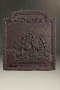 Early 18th century Flemish fireback depicting a swan and fox, circa 1700-30.