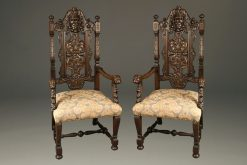 Pair of Belgian hand carved oak arm chairs, circa 1870.