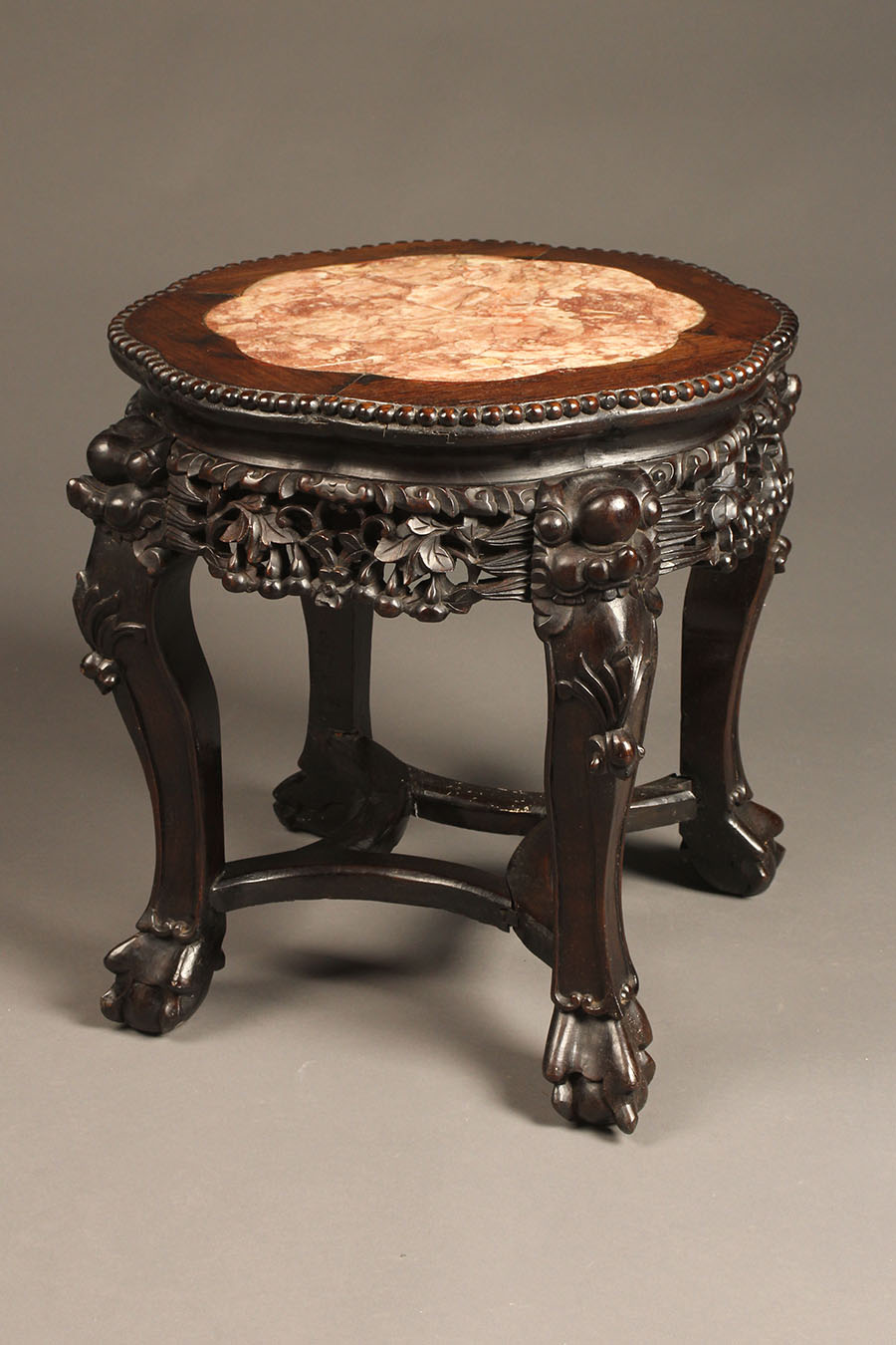 19th Century Oriental Teak Hand Carved Table With Marble Top