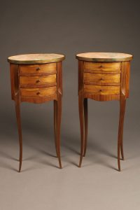 Pair of French night stands with marble tops and three drawers