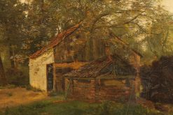 Late 19th century oil on canvas painting of a cottage in a forest