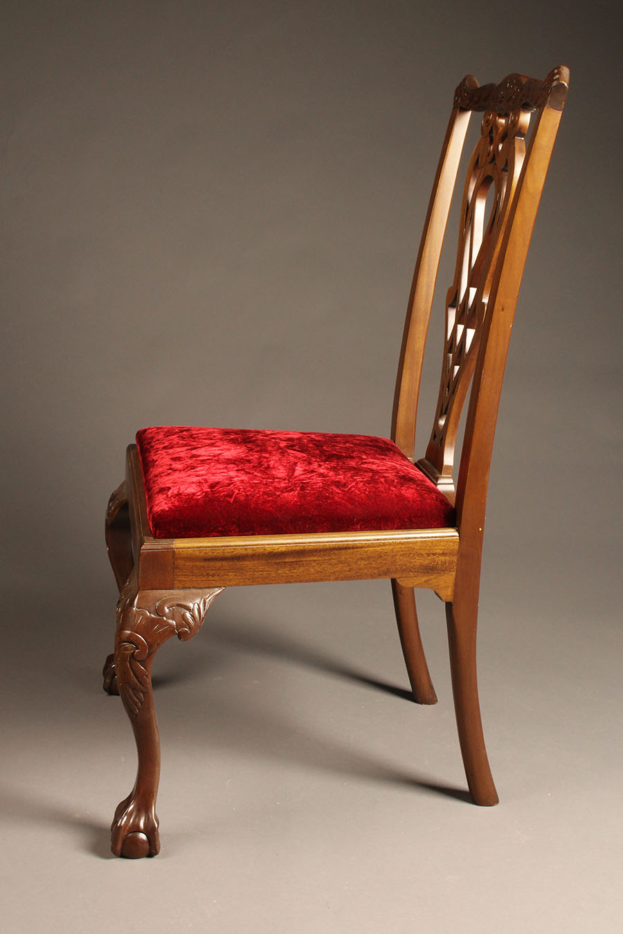 Antique Chippendale Style Mahogany Side Chairs With Carved