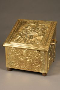 19th century Belgian coal or wood box with brass handles and detailed repoussè
