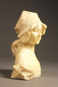 Late 19th century hand carved bust of a beautiful young woman in alabaster