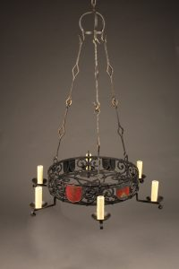 Late 19th century hand wrought French chandelier with 6 arms and family crests