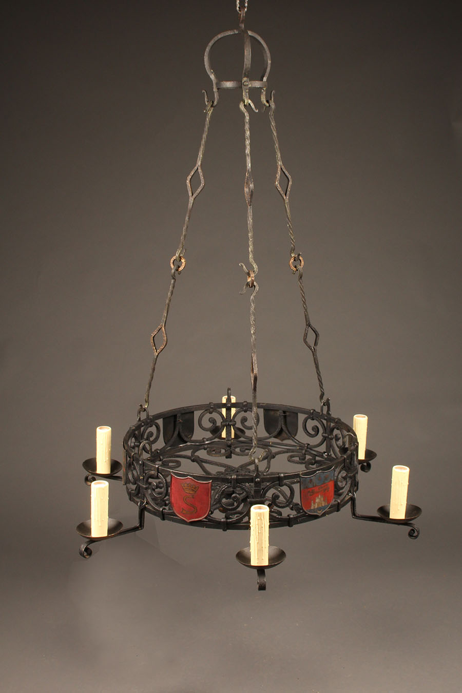 French 6 Arm Hand Wrought Iron Chandelier With Family Crests