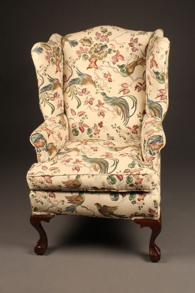 Antique Chippendale Style Wingback Armchair With Ball And