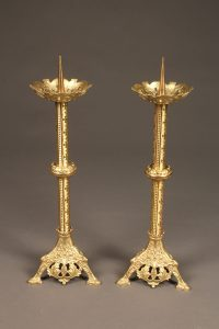19th century French pair of Gothic styled brass candelabras