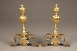 Beautiful pair of cast brass English andirons with fleur de lis