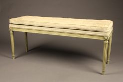 Louis XVI style polychromed bench with pad.