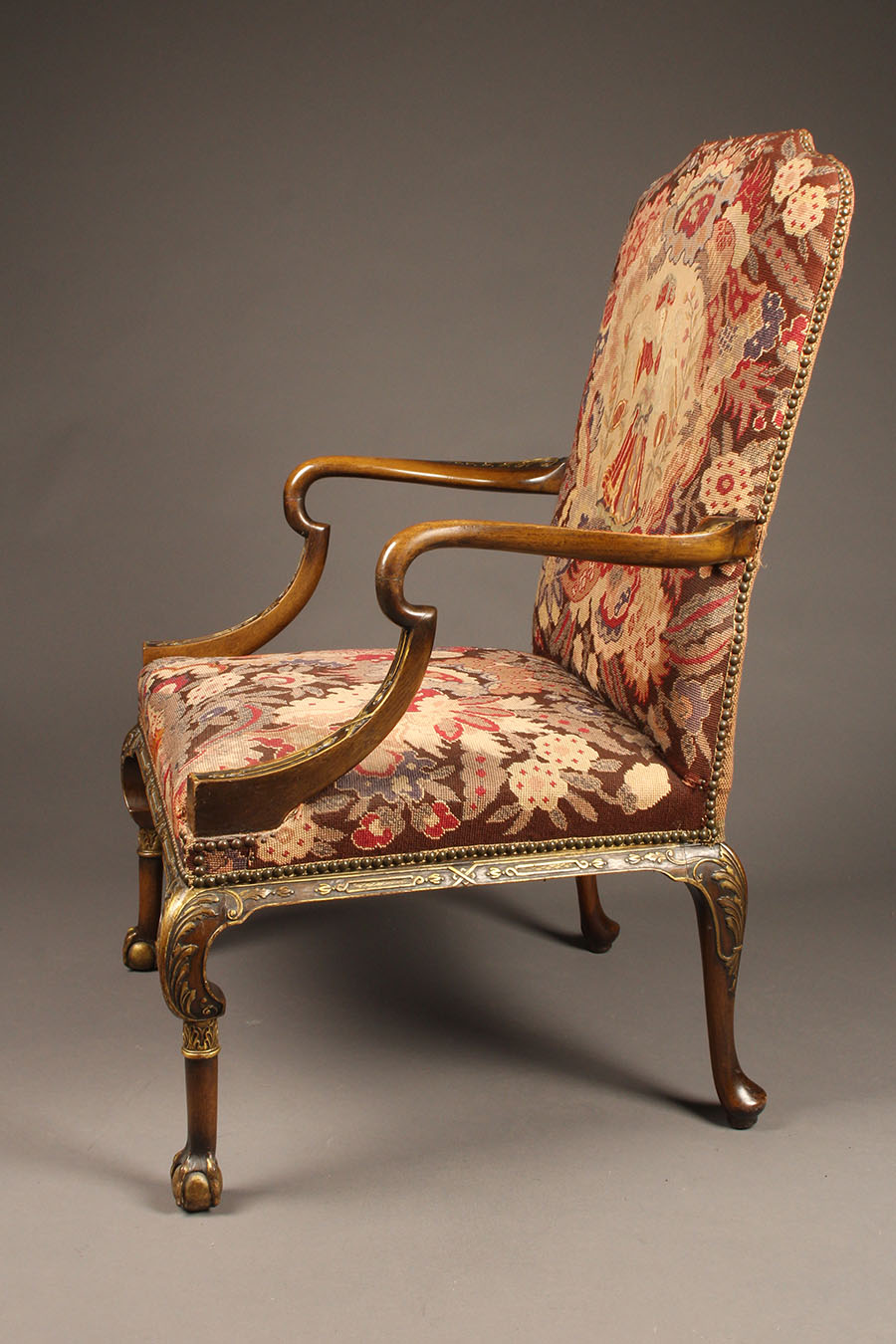 Antique French Arm Chair With Parcel Gilt And Ball And