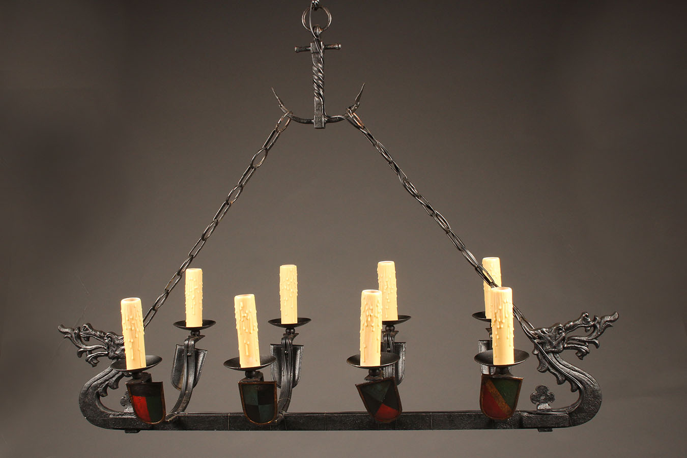 8 arm french iron chandelier in the shape of a viking ship